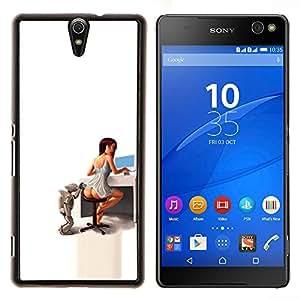 Qstar Arte & diseño plástico duro Fundas Cover Cubre Hard Case Cover para Sony Xperia C5 Ultra (Secretario Sexy)