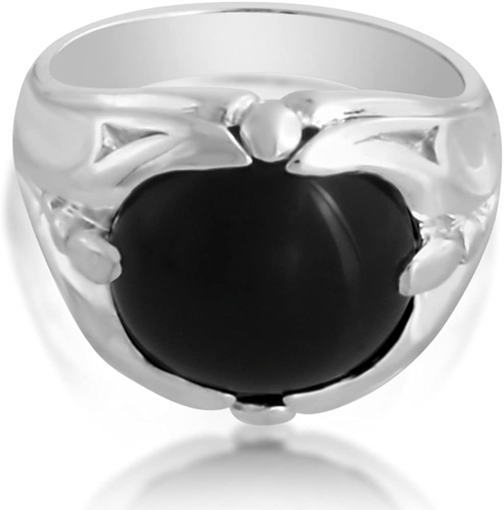 Azaggi 925 Sterling Silver Ring Mens Ring Large Cabochon Black Onyx Stone Size 8-13.This Handcrafted Silver Ring is The Perfect Black Friday Jewelry Gift for Men