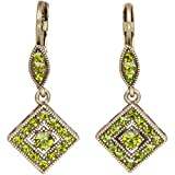 Green Crystal Goldtone Art Deco Style Square Drop Earrings