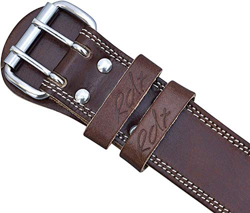RDX Weight Lifting Belt Cow Hide Leather Gym 4'' Training Back Support Fitness Exercise Bodybuilding, 2XL 40''-45'' (Waist Size not Pant Size), Brown by RDX (Image #6)