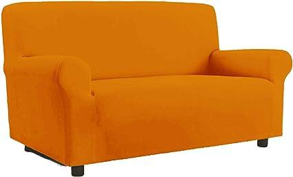 Copridivano Elasticizzato Antimacchia Modello Zeno Colore Arancio