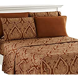 Lux Decor Collection Bed Sheet Set - Brushed Microfiber 1800 Bedding - Wrinkle, Stain and Fade Resistant - Hypoallergenic - 4 Piece (King, Paisley Brown)