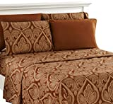 Lux Decor Collection Bed Sheet Set - Brushed Microfiber 1800 Bedding - Wrinkle, Stain and Fade Resistant - Hypoallergenic - 6 Piece (Queen, Paisley Brown)