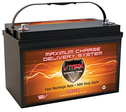 Foot Freshwater - VMAX XTR31-135 12V 135Ah AGM Deep Cycle Marine Battery for Motorguide X3 Freshwater Foot Control Bow Mount 45lbs 12V Trolling Motor ...