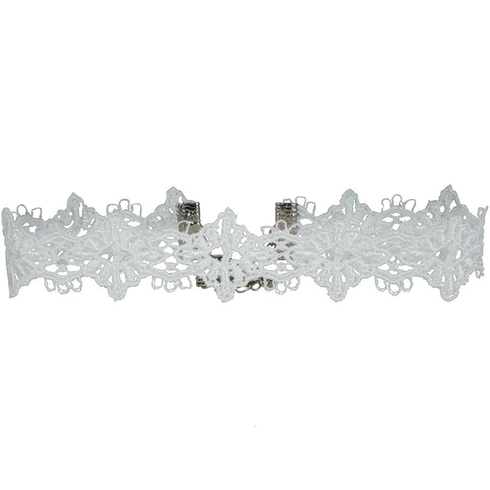Twilight's Fancy Diamond Filigree Venice Lace Choker Necklace (White, Small)