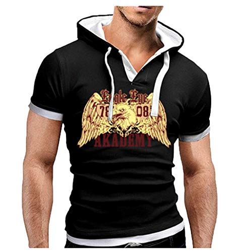 TUSANG Men's Tops Summer Fashion Comfortable Casual Hooded Stitching Printed Short Sleeves Slim Fit Comfy Tunic(White,US-8/CN-L) ()