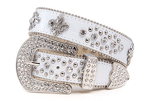 Fleur Lis De Buckle White Belt - Western Crystal Fleur De Lis and Stud Cowgirl Belt in Croco Patent white