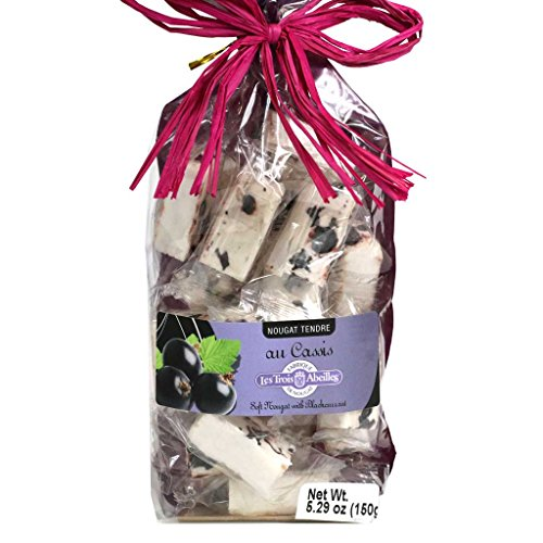 Soft White Nougat Candy with Blackcurrant and Lavender Honey | Handcrafted in France by Les Trois Abeilles | All Natural | 150 Grams (5.29 Ounce) Bag (Provence Lavender Honey)