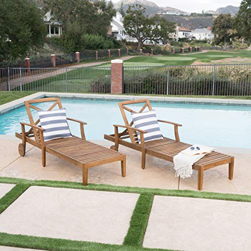 Great Deal Furniture Thalia Outdoor Teak Finished Acacia Wood Chaise Lounge (Set of 2) by Great Deal Furniture (Image #2)