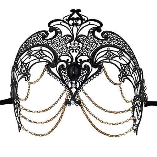 Exotic Party Feather Face Mask (Coddsmz Metal Masquerade Mask Halloween Costume Mardi Gras Mask Prom Ball Dress for Halloween Mardi Gras Party (Black))