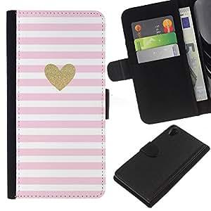 KLONGSHOP // Tirón de la caja Cartera de cuero con ranuras para tarjetas - Corazón de oro rosa de San Valentín Amor Blancas - Sony Xperia Z2 D6502 //