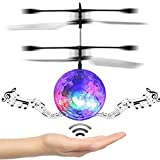 Geekercity Mini Flying RC Drone Helicopter Infrared Sensing Induction LED Remote Ball Toy with LED Shinning Flashing Lighting Suspension Aircraft Built in Disco Music for Kids Teenagers Children Gifts