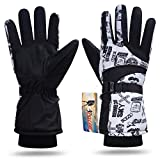 iColor Snowboard Gloves Winter Warm Ski Golve for Outdoor Sports Skiing Sledding Warm Windproof Bicycle Cycling Snow Snowboarding Snowmobile Golve (Black&White)