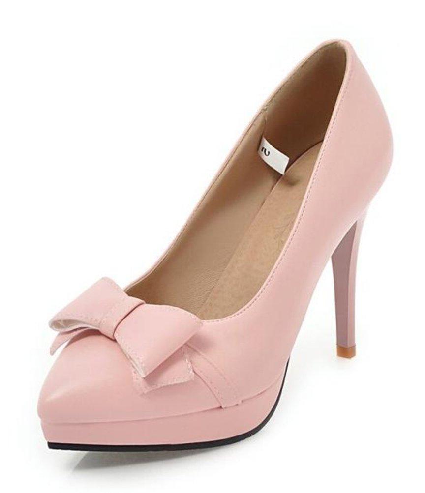 Easemax Damen Elegant Spitze Zehe Bogen Slipper High Heels Pumps mit Absatz Pink