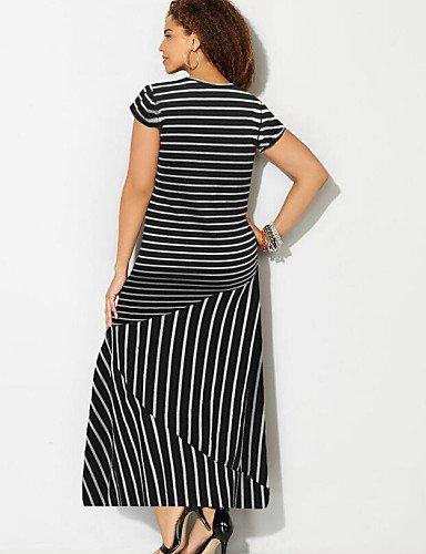 PU&PU Robe Aux femmes Gaine Street Chic,Rayé Col Arrondi Maxi Coton / Polyester , black-3xl , black-3xl