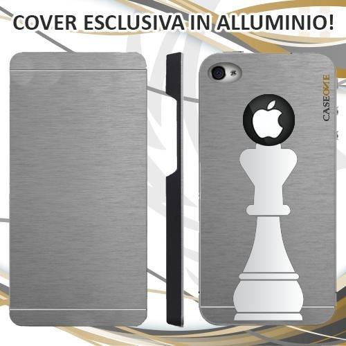 CUSTODIA COVER CASE RE BIANCO SCACCHI PER IPHONE 4S ALLUMINIO TRASPARENTE
