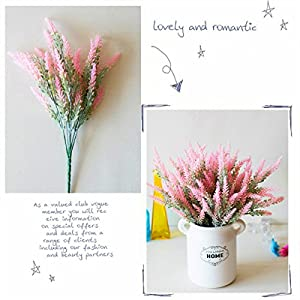 CATTREE Artificial Lavender, Plastic Plants Fake Flowers Bouquet Home Bridal Wedding Office Party Garden Balcony Indoor Outdoor DIY Centerpieces Arrangements Simulation Craft Decoration Pink 4pcs 4