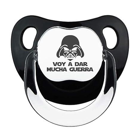 Chupete Voy a dar mucha guerra negro, chupete bebé parodia Star Wars - Darth Vader. (Negro, 0-6 meses)