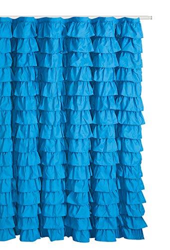 Waterfall Ruffled Fabric Shower Curtain (Blue /Turqoise) (Curtains Ruffle Blue)