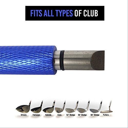 GC Groove Sharpener | Durable Iron Golf Club Cleaner | Lightweight Portable 1.4oz with Ergonomic Handle 2 Angle Heads and Top Cap for U-Groove V-Grooves Wedges Utilities | Blue | (Golf Utility Tool)