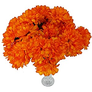 MM TJ Products 4 Artificial Chrysanthemum Bouquet + Acrylic Vase (Orange) 63