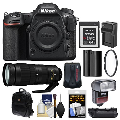 Nikon D500 Wi-Fi 4K Digital SLR Camera Body with 200-500mm f/5.6E VR Lens + 64GB XQD Card + Case + Flash + Battery/Charger + Grip Kit ()