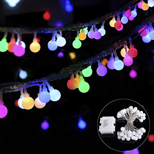 B-right 14.8ft Globe String Light, Battery Powered 8 Modes Outdoor Waterproof Decorative String Lights for Bedroom Patio Garden Parties Wedding, 40 LED Multi-Color