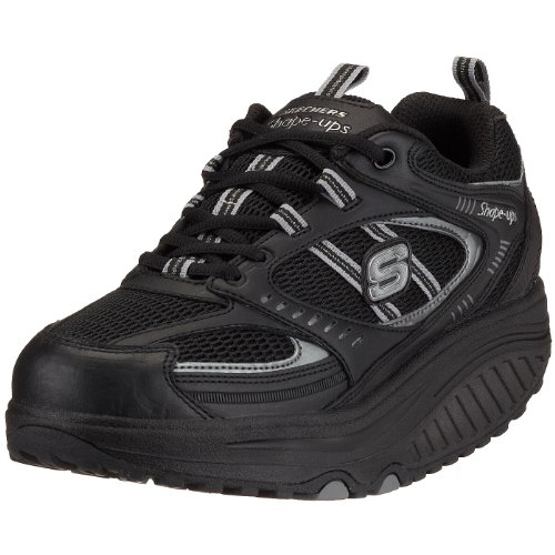 Skechers Women's Shape Ups Motivation Fitness Work Out Sneaker,Black,8 M US