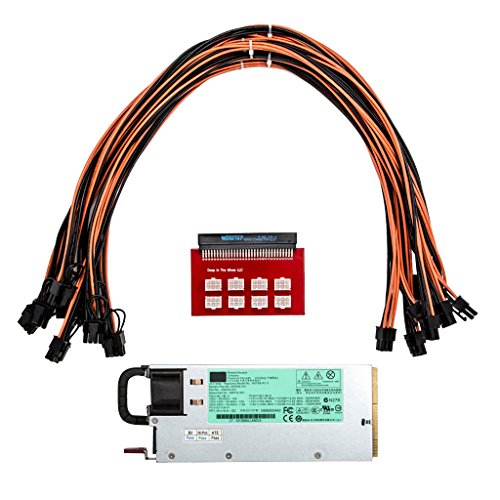 MonkeyJack Power Supply for GPU Open Rig Mining Ethereum 1200W with 6 to 6+2 Pin Cables by MonkeyJack (Image #3)