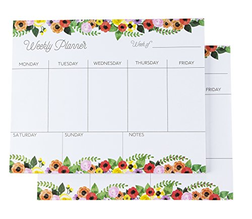 (Weekly Planner - Pack of 2 Weekly Planner Pads, Perfect for to Do Lists, Meal Planning, Appointments, 52 Sheets Each, Floral Designs, 8 x 10 Inches)