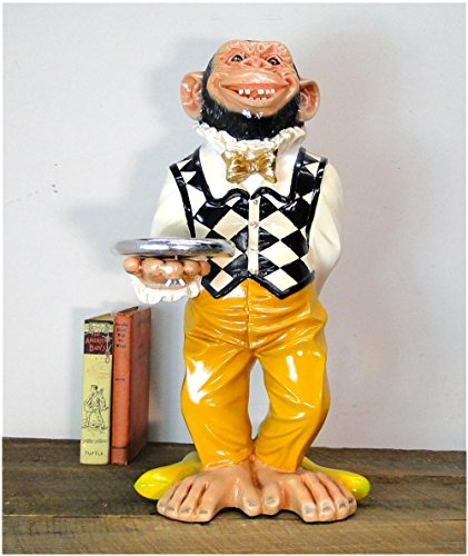 Monkey Butler Ape STATUE w gold serving tray 2' Tall w Suit Bow Tie bar kitchen ()