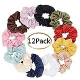 Large Premium Satin Hair Scrunchies for Hair,Chloven Set of 12 Scrunchy Hair Ties for Women Girls