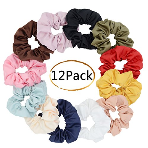Large Premium Satin Hair Scrunchies for Hair,Chloven Set of 12 Scrunchy Hair Ties for Women Girls from Chloven