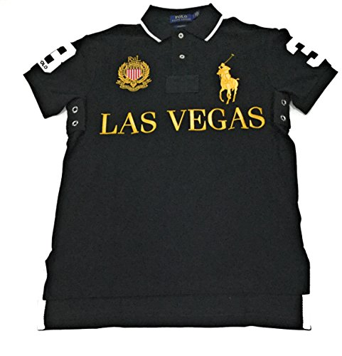 Polo Ralph Lauren Mens Big Pony City Custom Fit Mesh Polo Shirt (Medium, Black Las Vegas)
