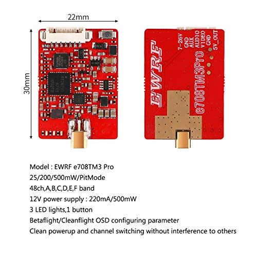 Makerfire FPV Transmitter 5 8Ghz VTX 48ch 7-26V 25/200/500mW Pit Mode  Switchable MMCX to RP-SMA Female Transmitter Support Betaflight Cleanflight  OSD