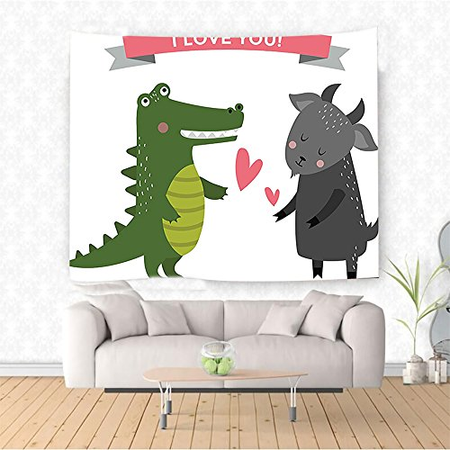 Nalahome cor Collection Crocodile and Goat Predator Prey Love Story I Love You Difference Dangerous Design Green G Ethnic Decorative Tapestry Blanket Wall Art Design Handicrafts 80W x 59L Inches