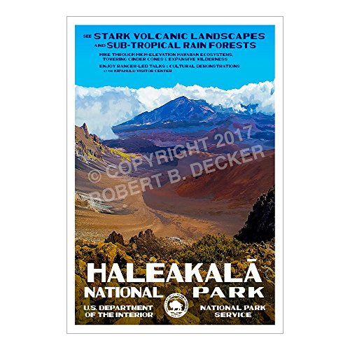 "Haleakala National Park Poster - Original Artwork - 13"" x 19"" by Rob Decker - WPA Style"