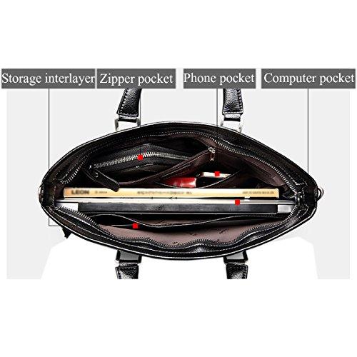 Business Black black QISHI Cowhide Leather Fashion 1 trends Genuine YUHUA Men YUHUA30 1 handbag QISHI wq7Ag0