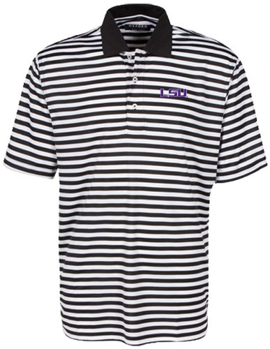 Oxford NCAA LSU Tigers Men's Bar Stripe Golf Polo, Black/White, (Lsu Tailgate Golf)
