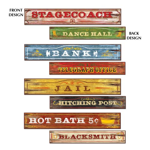 Western Party Decorations (Western Sign Cutouts Party Accessory (1 count) (4/Pkg))