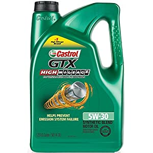Castrol 03102 GTX High Mileage 5W-30 Synthetic Blend Motor Oil, 5 Quart