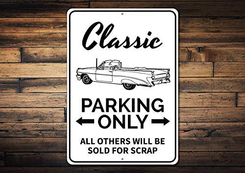qidushop Classic Car Parking Sign Car Lover Gift Gift for Classic Car Owner Car Collector Sign Metal Garage Decor Novelty Aluminum Metal Tin Sign Post Wall Decoration for Men