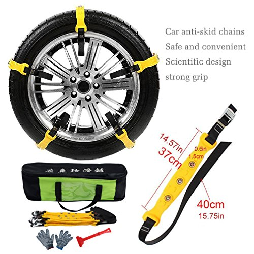 Mayper Tire Chains Snow Chains for Car/SUV/Trucks/ATV Anti-Skid Emergency Snow Tire Chains Adjustable Car Security Chain for Snow Ice Mud Width:185-295mm/7.2-11.6'' by Mayper (Image #3)