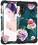 PIXIU Galaxy Note 10 case,Unique Dual Layer Heavy Duty Shockproof Protective Hybrid Sturdy Case for Samsung Galaxy Note 10 Floral