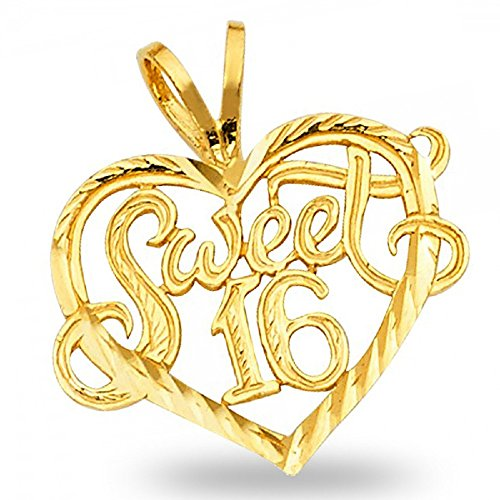 Solid 14k Yellow Gold Sweet 16 Heart Pendant Birthday Love Charm Diamond Cut Genuine 16 x 19 mm - Gold Sweet 16 Heart Charm