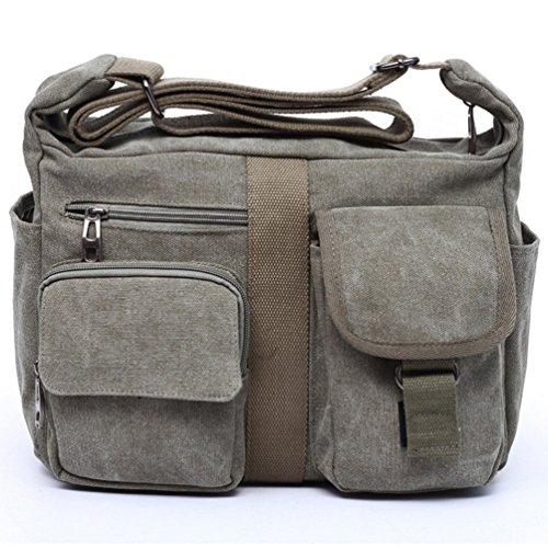 Albabara Canvas Side Shoulder Crossbody Leisure School Bags (Army Green)