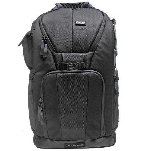Vivitar Series One Digital SLR Camera/Laptop Sling Backpack - Large (Black) Holds Most 17''' Laptops with 57'' Tripod + Camera & Laptop Cleaning Kit for Canon EOS 7D, 5D Mark II III, 60D, Rebel T3, T3i, Nikon D3100, D3200, D5100, D7000, D800, A35, A55,