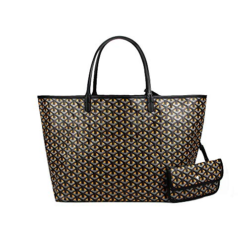 (Stylesty Fashion Shopping PU Tote Bag, Designer Shoulder Handbags with Key Ring ... (Large, Dark Yellow))