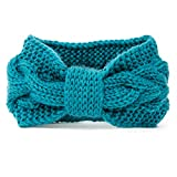 NISHAER Women's Wide Chunky Cable Knitted Turban Headband,Turquoise,One size