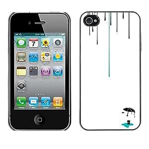 Jordan Colourful Shop - Rain Minimalistic Deep Clean For iPhone 4 / 4S Custom black plastic Case Cover